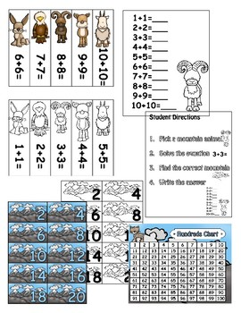 Mountain Woodland Animal Doubles Addition Math Center