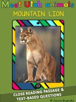 Mountain lion (cougar/puma): leveled close reading passage; CCSS aligned