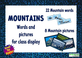 Mountain words and pictures for class display