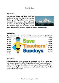 Mountain zones Lesson plan, Text and Worksheet