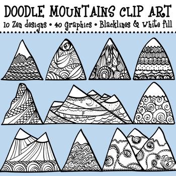 Mountains Clip Art Doodles
