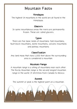 Mountains Fact Cards