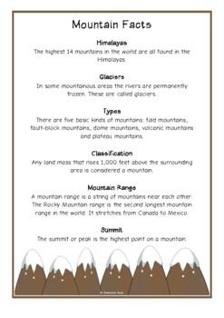 Mountains Fact Cards