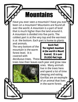 Mountains: Informational Text Close Read