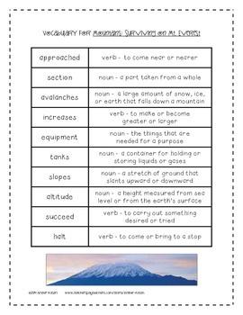 Mountains: Surviving on Mt. Everest 3rd Grade Journeys Unit 5, Lesson 25