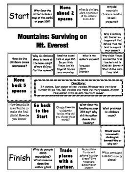 """Mountains: Surviving on Mt. Everest"" Comprehension Game-"