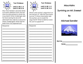 Mountains Surviving on Mt. Everest trifold/ 3rd grade Journeys HMH