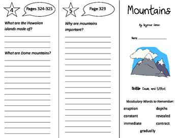 Mountains Trifold - Storytown 4th Grade Unit 3 Week 2