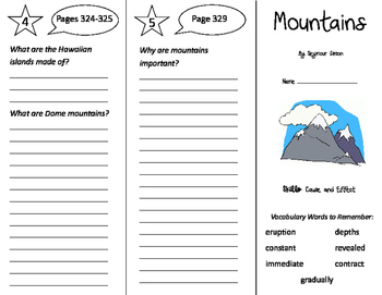 Mountains Trifold - Storytown 4th Grade Unit 3 Week 2