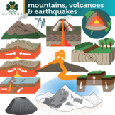 Mountains, Volcanoes and Earthquakes Clip Art