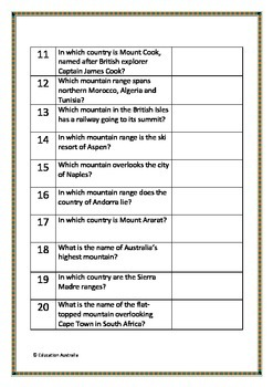 Mountains of the World Trivia Questions / Quiz - 20 Questions With Answers