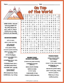MOUNTAINS OF THE WORLD Word Search Puzzle Worksheet Activity