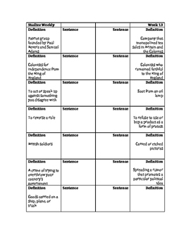 Mounting Colonial Tensions Vocabulary Foldable: Studies Weekly 13