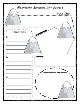 Mountins: Surviving Mt. Everest Story Map Graphic Organizer
