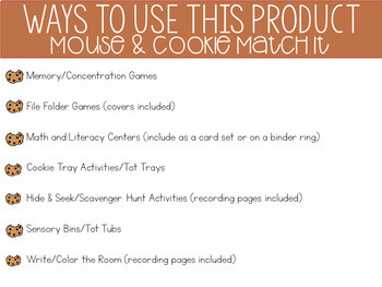 Mouse Cookie Matching Activities for Toddlers, Preschool, and PreK
