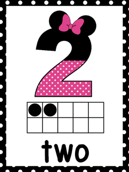 Mouse Ear Pink Ten Frame Number Posters