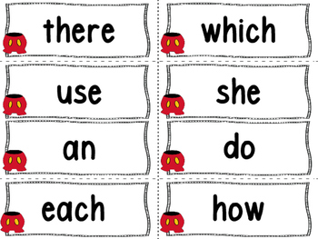 Mouse Ear Word Wall Letters And 200 Fry Words