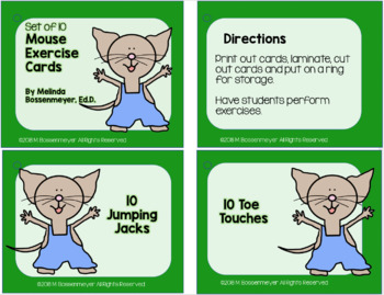 Mouse Exercise Cards and Posters