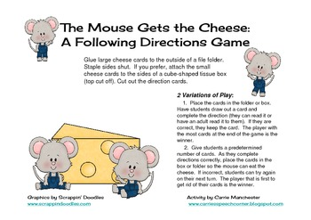 Mouse Gets the Cheese: A Following Directions Game