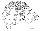 Mouse Gingerbread House Coloring Sheet