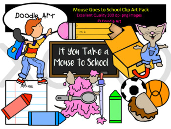 Mouse Goes to School Clipart Pack