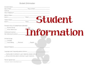 Mouse Inspired Student Information