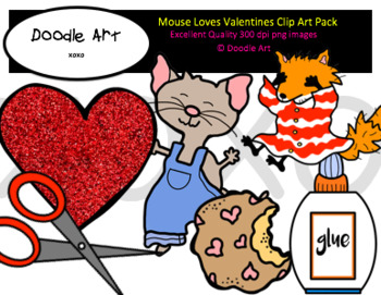 Mouse Loves Valentines Clipart Pack