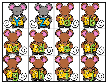 Mouse Match Alphabet & Beginning Sounds Use with Cheese Dip