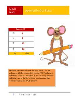 Mouse Math Addition In-Out Boxes