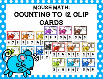 Mouse Math: Counting to 12 Clip Cards
