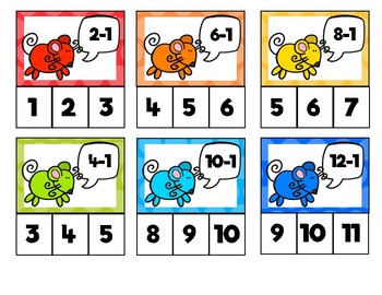 Mouse Math: Subtraction Clip Cards