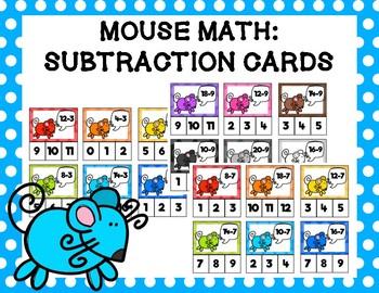 Mouse Math: Subtraction Clip Cards