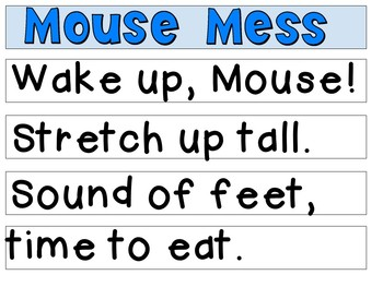 Mouse Mess: Pocket Chart & Literacy Activities