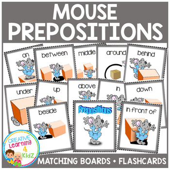 Preposition Mouse Matching Boards + Flashcards