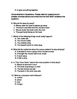 Mouse Soup Comprehension Test