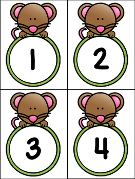 Mouse Table Numbers 1-10 And Mouse Number Cards 1-10