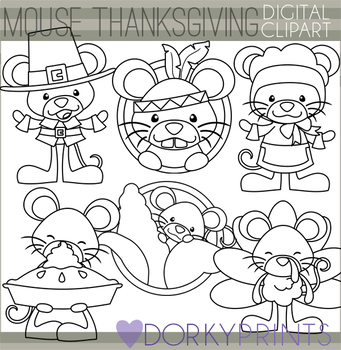 Mouse Thanksgiving Blackline Clipart