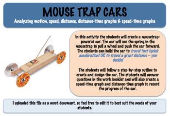 Mouse Trap Cars - Distance-time Graphs & Speed-time Graphs (Editable)