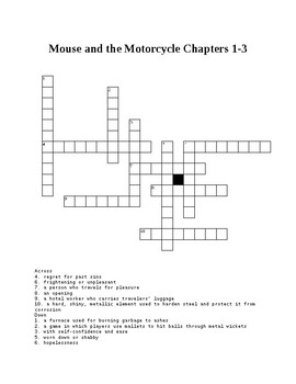 Mouse and the Motorcycle Crossword Puzzle