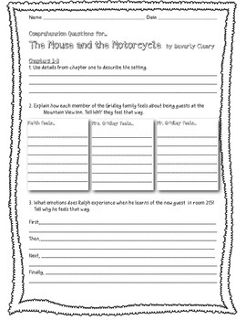 Mouse and the Motorcycle High Level Comprehension Questions & Final Write
