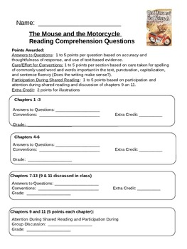 Mouse & the Motorcycle: Grading Sheet to go with Questions