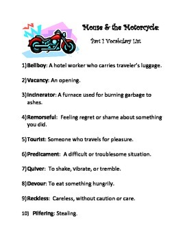 Mouse & the Motorcycle-Part 1 Vocabulary List