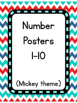 Mouse themed numbers 1-10 (red/teal)