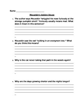 Mousekin's Golden House Comprehension Questions