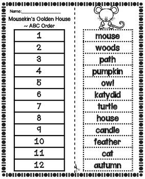 Mousekin's Golden House Worksheets Booklets Seatwork Center