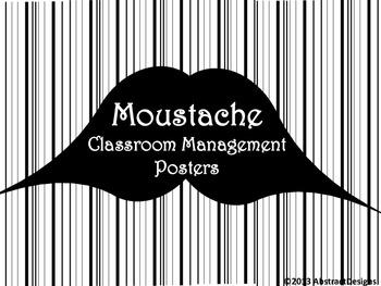 Moustache Classroom Management Posters