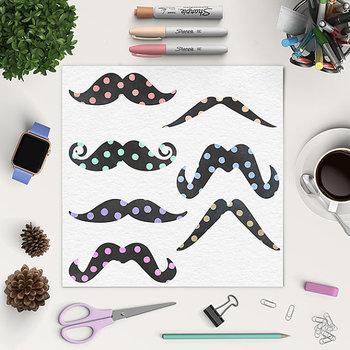 Moustache Clipart, Chalkboard Moustache With Confetti Pattern