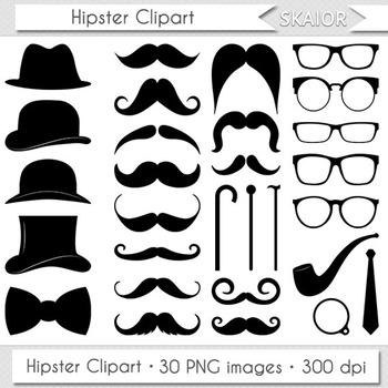 Moustache Clipart Gentleman Mustache Clip Art Hipster Digital Hat Tie Glasses