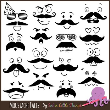 Moustache Faces Clip Art