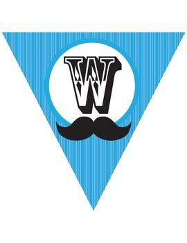 Moustache Mustache Stache Classroom Pack - chevron - blue
